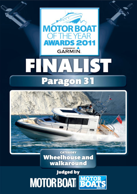 Picture that sais that Paragon 31 is a finalist in the motor boat of the year awards 2011