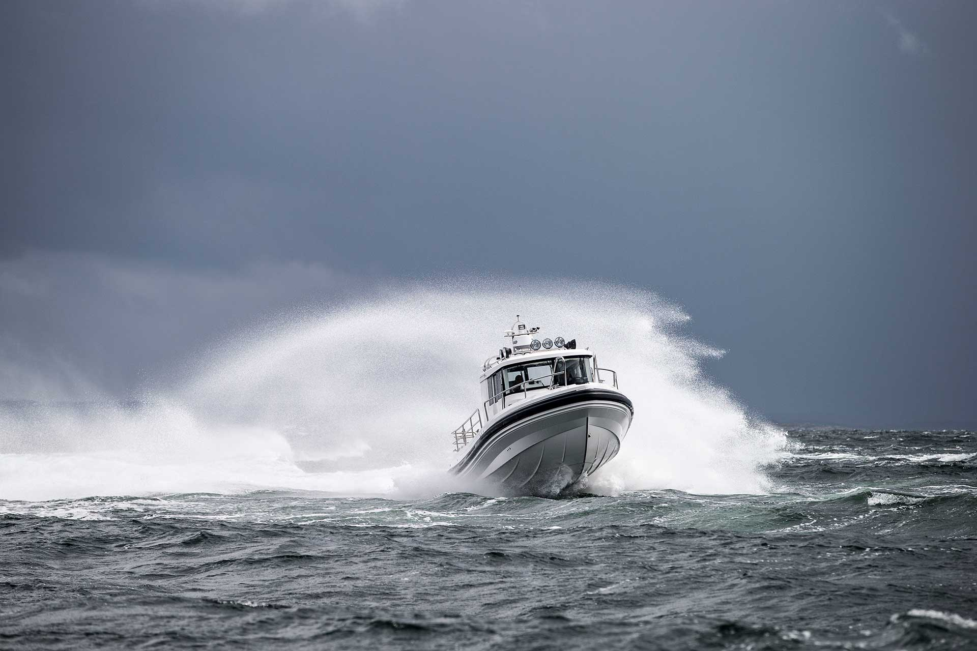 Paragon Motorboat out on the sea with small waves