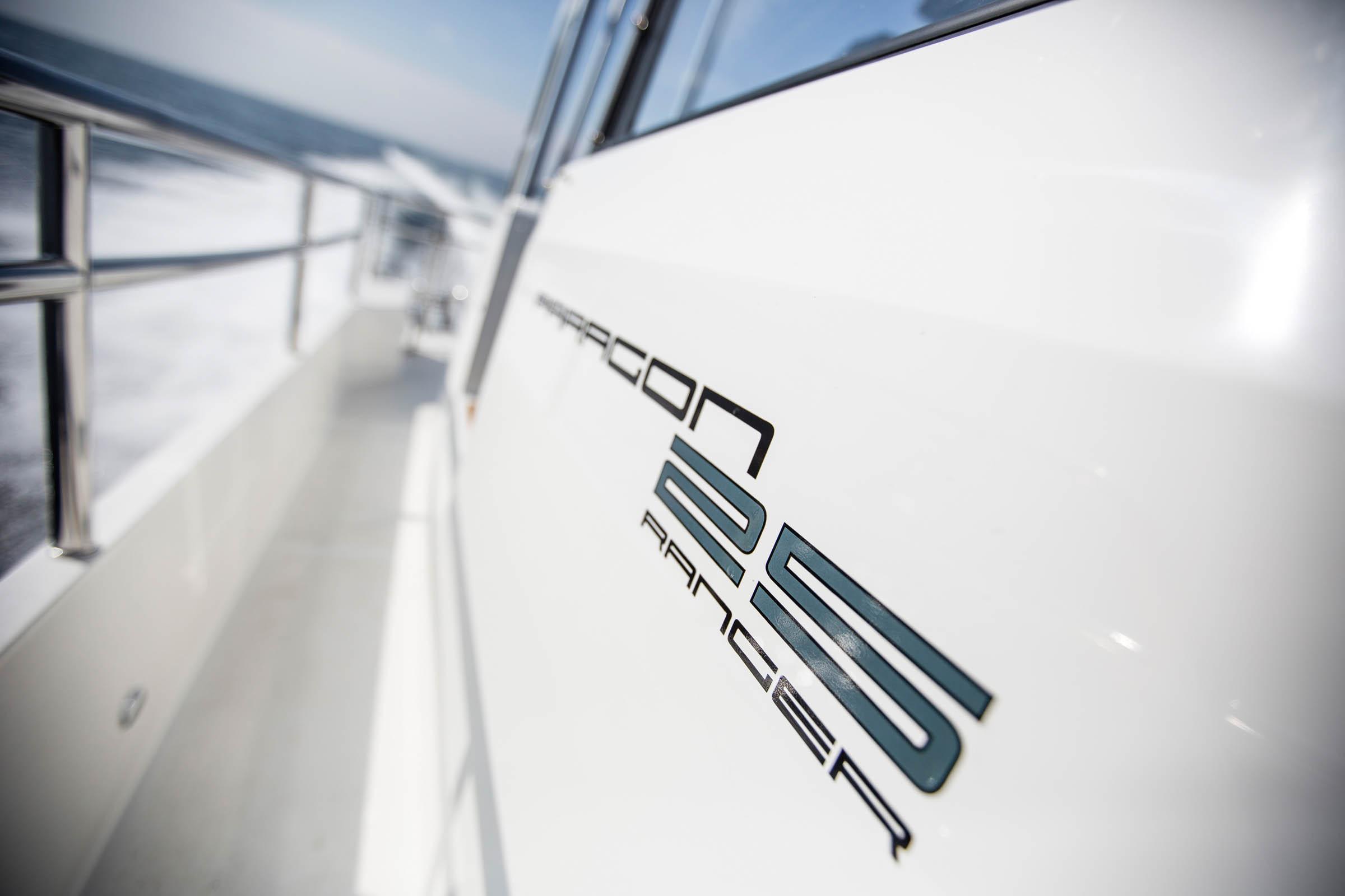 Paragon 25 Ranger logo on a boat