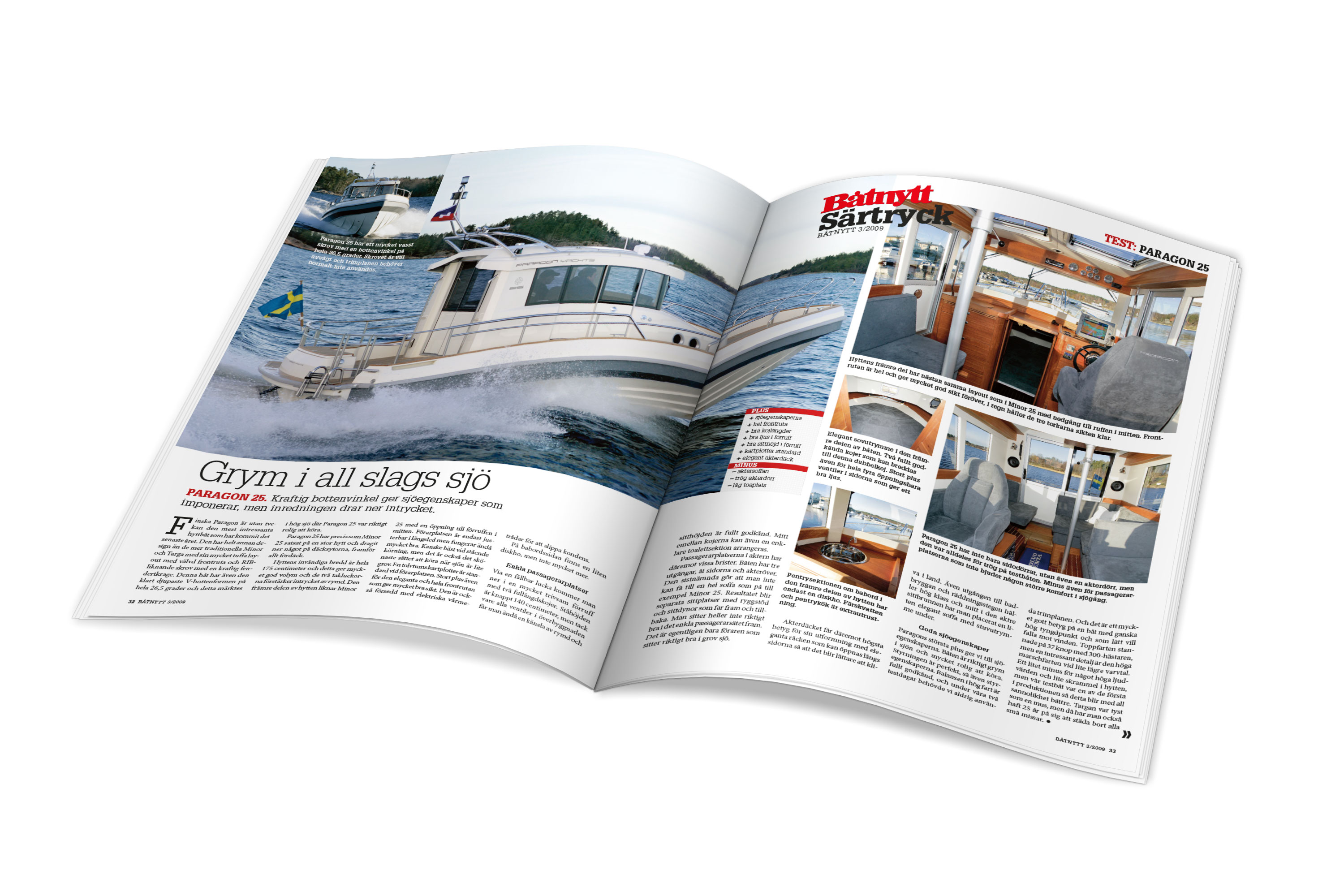 Article in a newspaper about Paragon 25 with text and pictures of the boat