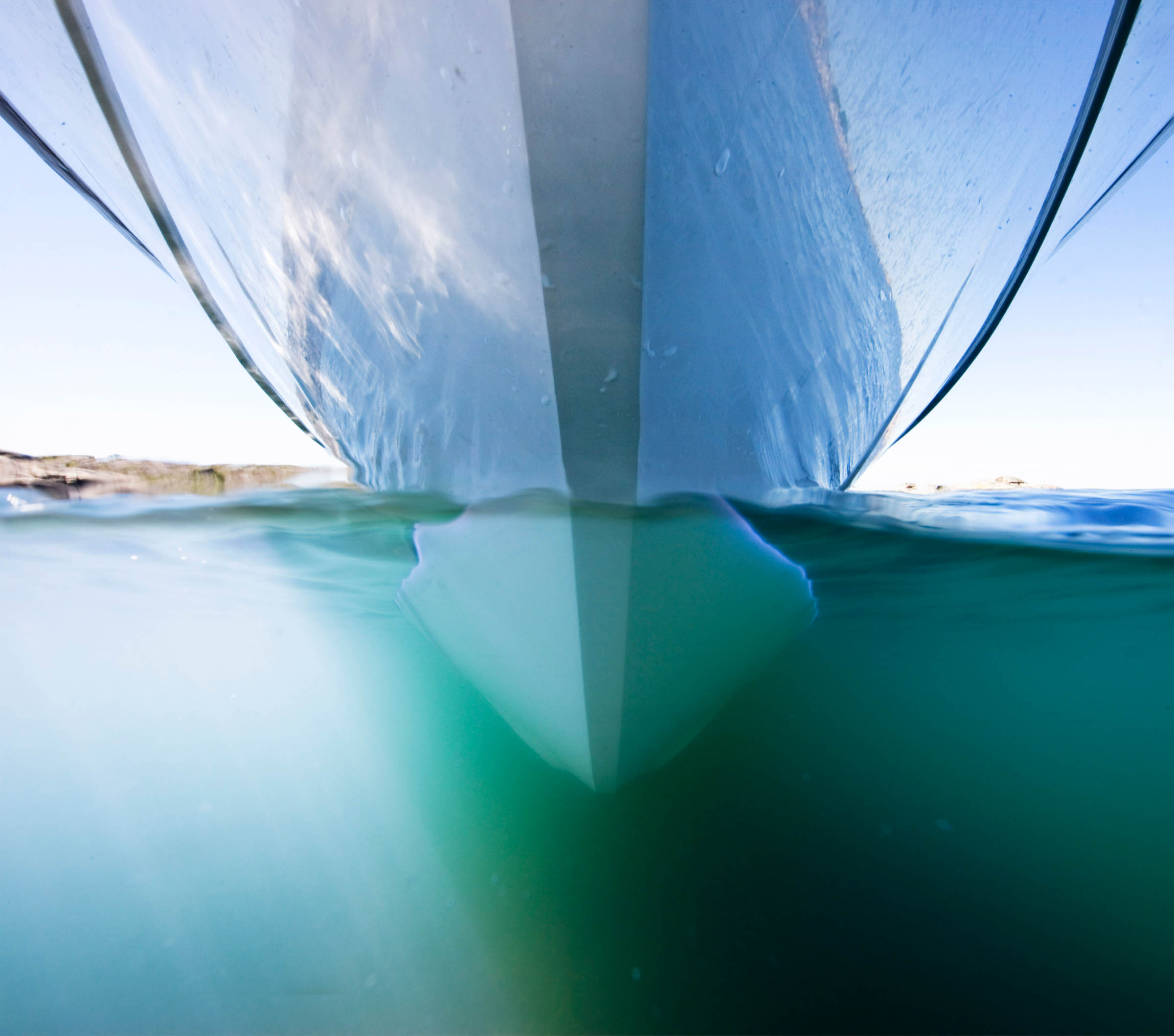 Below the front of a Paragon motorboat