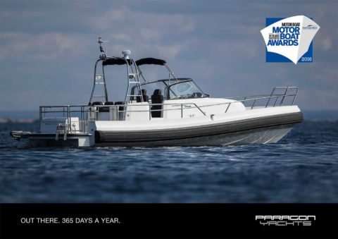 Small Paragon Yachts boat on the calm sea, the winner of motorboat awards 2016