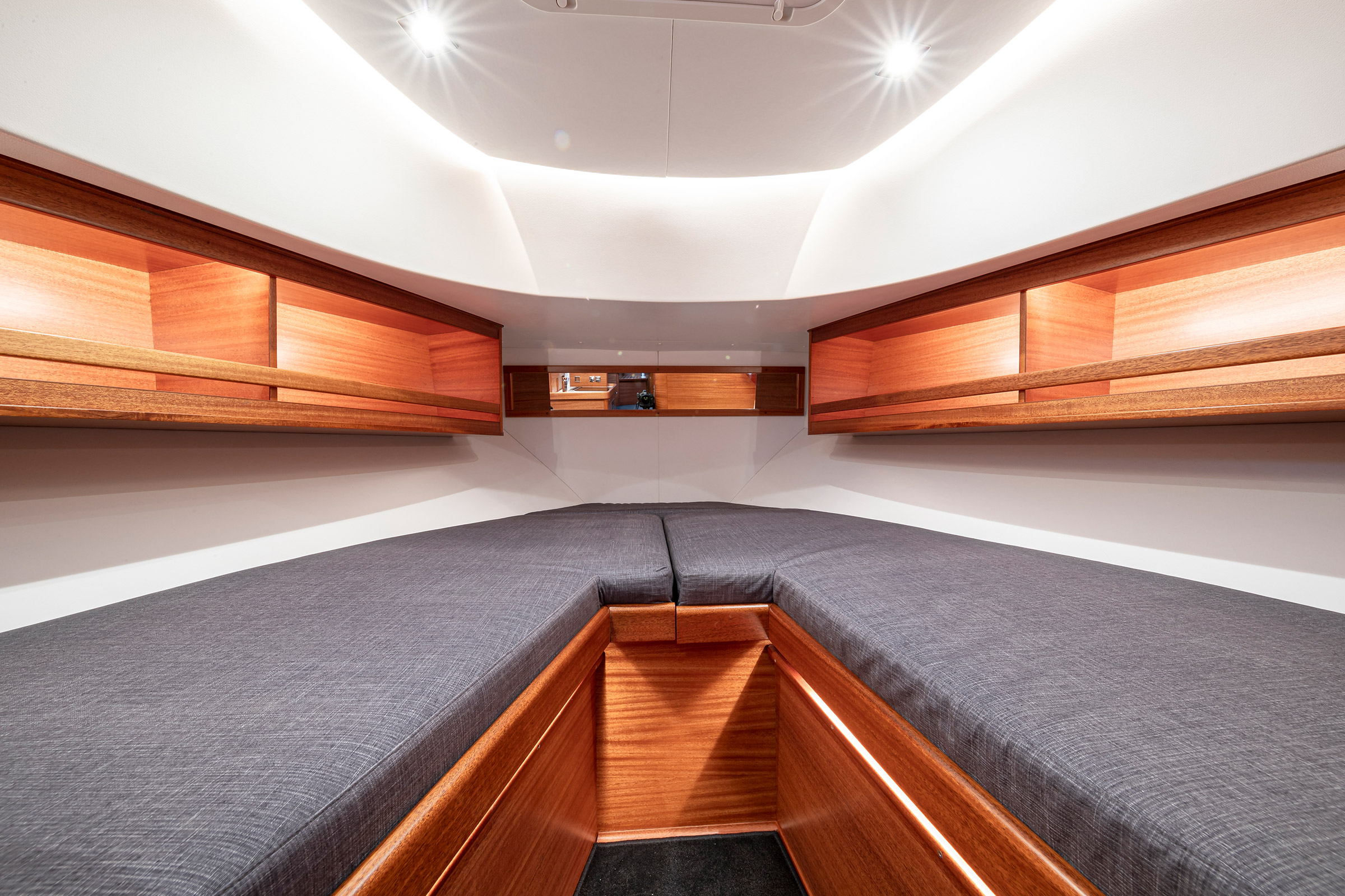 Interior of a Paragon 31 Flybridge. Sofas that can be used as beds