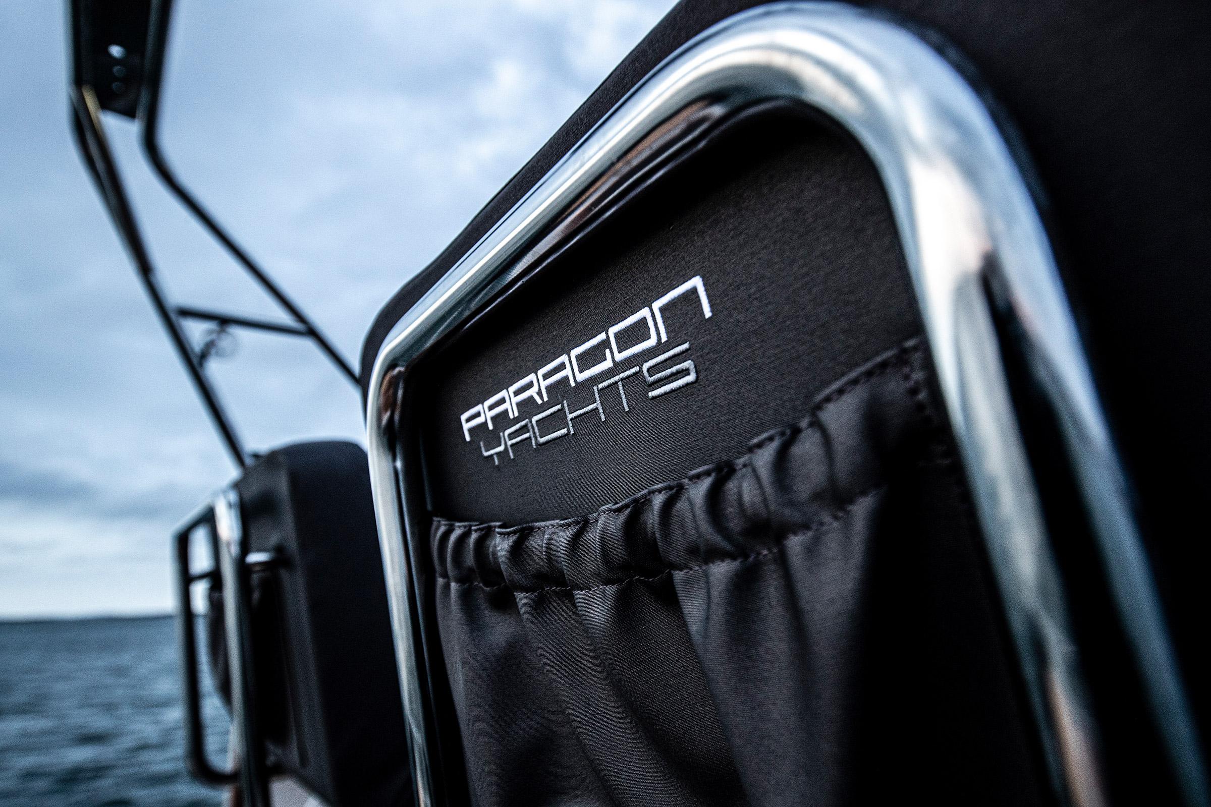 Paragon Yachts logo on a Paragon boat